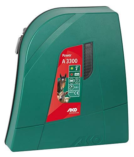 AKO Weidezaungerät Power A 3300-12 Volt - auch für die Wildabwehr geeignet - geringer Stromverbrauch durch Stromsparschaltung - Krokodilklemmen aus hochwertigem Edelstahl