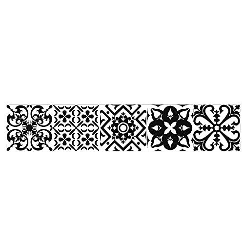 Pegatinas para azulejos en blanco y negro retro tira impermeable pegatinas de pared DIY autoadhesivo extraíble Retro cuadrados pegatinas para decoración de muebles de cocina baño 20 x 100 cmX1 pieza