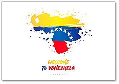 Willkommen in Venezuela. Kühlschrankmagnet, Motiv Flagge & Landkarte