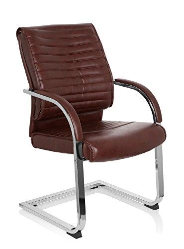Besucherstuhl VISITER CL120, Konferenzstuhl mit Armlehnen, Freischwinger zum Arbeiten & Relaxen im Büro,ergonomischer Sessel für das Home Office, Kunstleder braun MyBuero 725015