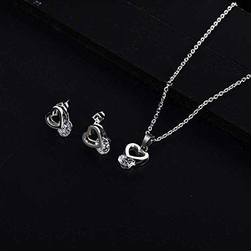 Gepersonaliseerde accessoires, halskettingen, modieus hart met steen Choker ketting zilver goud roestvrij staal minimalistische Dainty hart sieraden set voor vrouwen, Thumby ZILVER