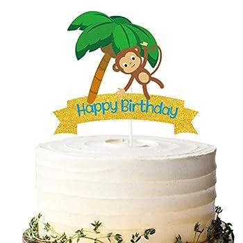 Glitter Monkey Happy Birthday Cake Topper Monkey Birthday Cake Decor Safari Jungle Themed Birthday Party Supplies Zoo Animals Centerpiece