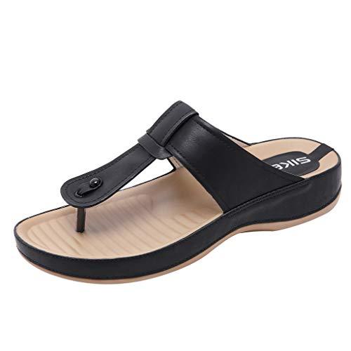 BASACA Damen Sandalen Hausschuhe Sandalen Keile Zehentrenner Böhmen Strandschuhe Outdoorschuhe Sommerschuhe Freizeitschuhe (Schwarz, 38)