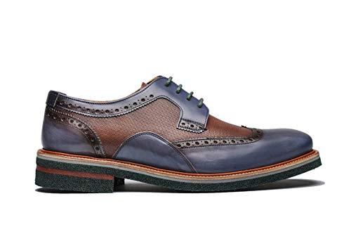 A Angel Infantes 12571 Zapato de Hombre Hugo Azul/Marron