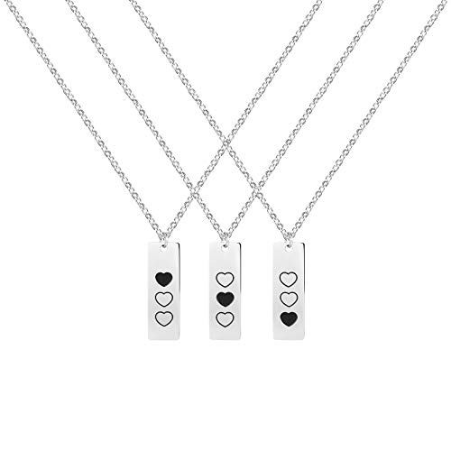Faylora Best Friend Necklace for 3 Friendship Necklaces 3 Sister Necklace for Her (Heart Pattern)