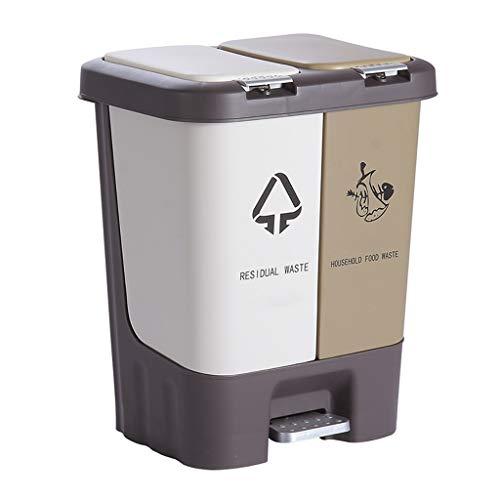 JYKJ keuken prullenbak 2-in-1 pedaal prullenbak station, vuilnisbak kan worden gescheiden binnen 2 cycli van prullenbak, ecologische prullenbak prullenbak, Robust's PP plastic woonkamer kantoor