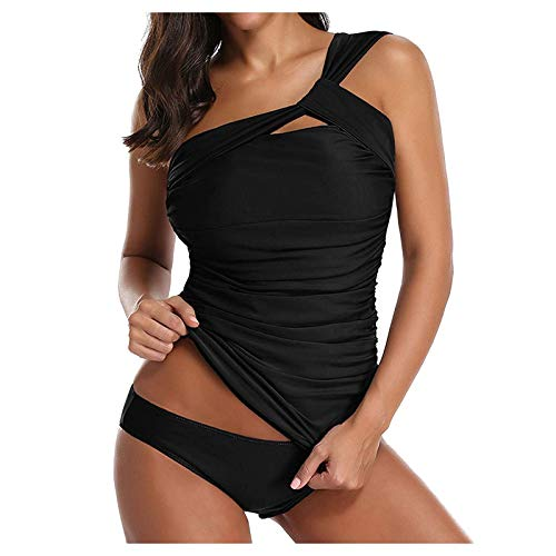 Trajes de baño de un hombro para mujer adelgazar trajes de baño con volantes Tankini con pantalones cortos traje de baño de dos piezas