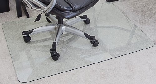 myGlassMat 36 X 48-Inch Tempered Glass Chair Mat for Carpet and Hard Floors, Rounded Corners, Smooth Polished Edges, 1/4-Inch Thick, Clear Glass (gcm36x48)