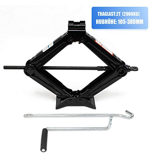Miafamily Tijera para Automóviles Elevador Tijera Manivela 2000 kg Llave de carraca 360 ° Aabeza de Actividad (hasta 2toneladas/Negro)