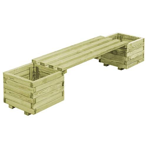 mewmewcat Tuinbank met plantenbakken tuin lounge bank met bloempot grenenhout geïmpregneerd