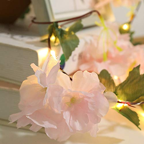 Grneric 20LED Flashing Sunlower String Lights 3AA Battery Operated Flower Vine Fairy Garland Light Christmas Wedding Home Decoration (Emitting Color : Pink Flower)