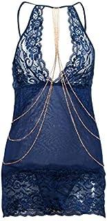 المرأة الملابس الداخلية انخفاض قلادة مع سلسلة معدنية ذهبية مجموعة الملابس الداخلية منامة غوكو