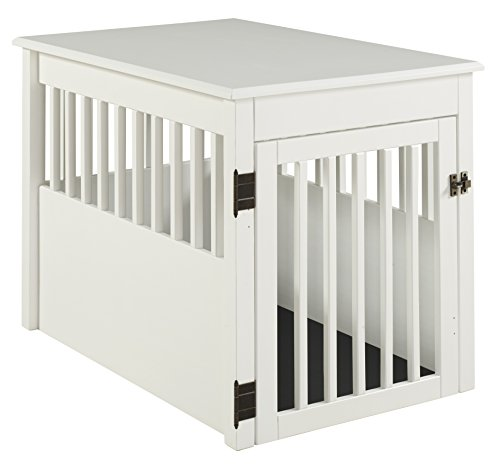 BarkWood Large Pet Crate End Table - White Finish