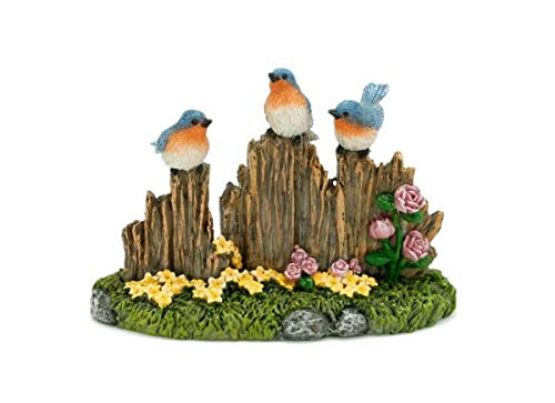 For Miniature Fairy Garden for home Blue Birds Chatting on Flowered Fence MALOLIK supplier DIY home & garden