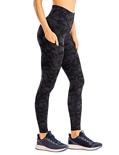 CRZ YOGA Women's Naked Feeling Light Running Leggings 28 Inches - High Waisted Compression Workout Pants with Pockets Tie Dye Smoke Ink-28'' Medium