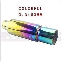 LONGJUAN-C 車の排気システムマフラーの先細りのパイプ 普遍的なステンレス鋼O.D 51 57 63 mm 5色サイレンセーテールパイプ バイクマフラー (Color : COLORFUL 63MM)
