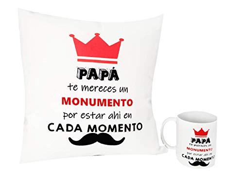 Pack Taza + COJIN Papa para Regalos - Taza Desayuno Original 350 ml + COJIN Cuadrado 35X35 (COJIN +Taza)