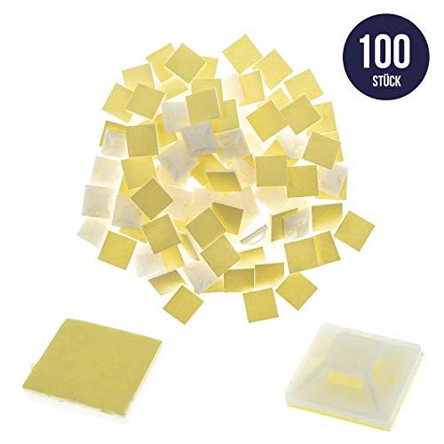 100 x Montagesockel, Klebesockel, Kabelbinderhalter in weiß, selbstklebend, 20mm x 20mm, Kabelschelle, Kabelklemme, Schraubsockel