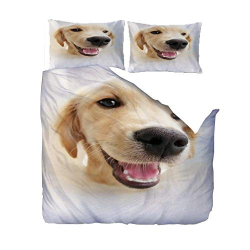 PANDAWDD 3D Printed 220x230cm Cute golden retriever animal Bedding Set for Children Teens Duvet Cover Set with 2 Pillowcases Microfiber Quilt Cover with Zipper Closure