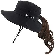 Muryobao Women Ponytail Summer Sun Hat Wide Brim UV Hats Floppy Bucket Cap for Safari Beach Fishing Gardening Pure Black