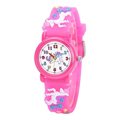 Clastyle Kinderuhren Einhorn Bunt Weich Armbanduhren für Mädchen Rosa Tier Karikatur Mädchenuhren mit Silikonband