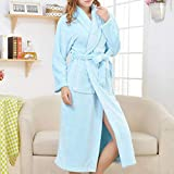 Coral Mujer Bata Invierno Cálido Kimono Vestido Espesar Franela Ropa De Dormir Ropa De Dormir Mujer Casual Albornoz Lencería Íntima L Azul Cielo