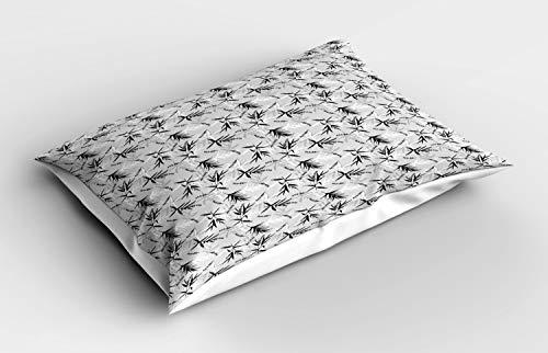 ABAKUHAUS Blumen Kissenbezug, Bambus-Blätter-Muster, Dekorativer Standard King Size Gedruckter Kissenbezug, 75 x 50 cm, Pale Grau Weiß
