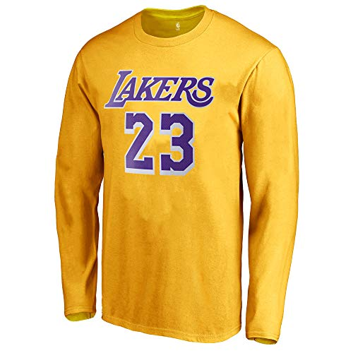 Outerstuff NBA Youth Game Time Team Color Player Name and Number Long Sleeve Jersey T-Shirt (Medium 10/12, Lebron James Los Angeles Lakers)
