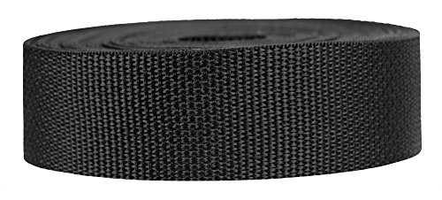 Strapworks Lightweight Polypropylene Webbing - Poly Strapping for Outdoor DIY Gear Repair, Pet Collars, Crafts – 1.5 Inch x 50 Yards - Black