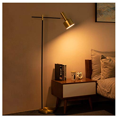 Lámpara De Pie LED con Atenuación Teledirigida, Lámpara De Pie De Sala De Estar De Dormitorio De Metal De ángulo Ajustable