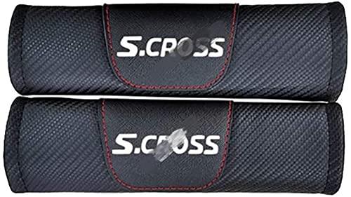 2 fundas de cinturón de seguridad de fibra de carbono paraTodos los modelos Suzuki Scross, protectores de hombros y cuello, accesorios seguros y cómodos