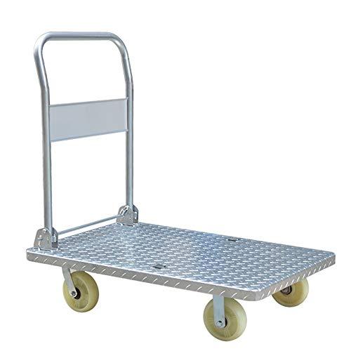 Platformwagen staal Dolly Push Cart beweegbaar platform hand truck opvouwbare voor eenvoudige opslag en 360 graden draaibare wielen met 1500 lb gewicht capaciteit multifunctioneel gebruik voor bagage, reizen, auto, verhuizing en