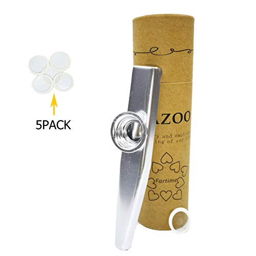 Fartime Silver Exquisite Aluminum Alloy Kazoo With 5 Kazoo Flute Diaphragms And A Beautiful Gift Box-Musical Instruments. (silver)