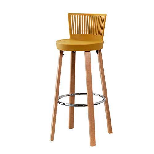 Chaise de Bar Nordique Creative Tabouret de Bar en Bois Massif Chaise de Bar Cafe Home Designer de Loisirs Tabouret Haut (3 Couleurs)