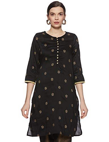 Amazon Brand – Myx Women's Polyester Straight Kurti (AW17NIT297B_Black_Large)