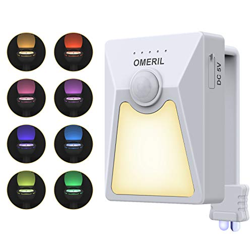 OMERIL Toilet Night Light, 4 Meters Sensing Range Toilet Bowl Light with USB-Operated and 18 Colors, Waterproof Toilet Led Light with UV Lamp Disinfection Function for Washroom, Fits Any Toilet