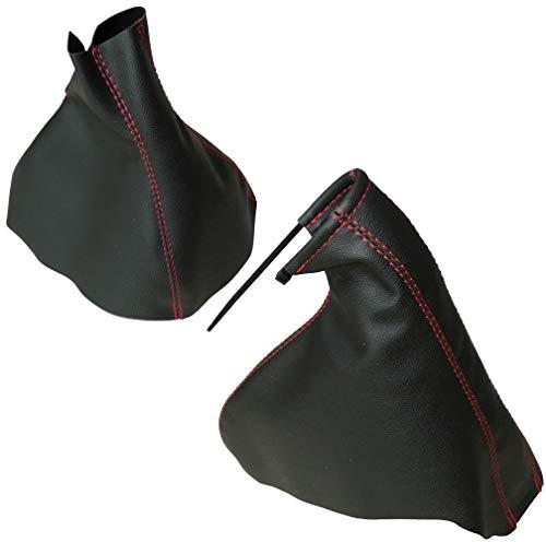 AERZETIX: Funda para palanca de cambios y freno de mano de piel sintética con costuras de colores variables (negro con costuras rojo)