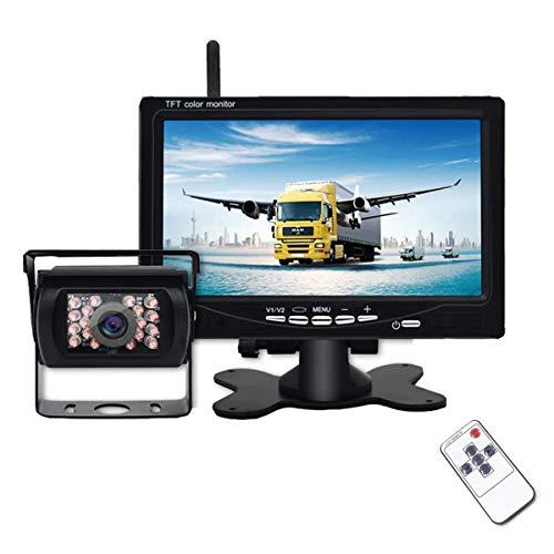 Telecamera Retromarcia Wireless con 7 Pollici Monitor LCD, 12 V-24 V Digitale Assistenza al Parcheggio Impermeabile IP67 Senza Fili Telecamera di Backup Kit Visione Notturna