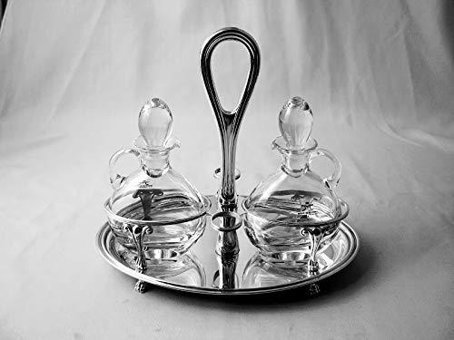 Generico Set Olio e Aceto Ovale Stile Inglese in Argento 800 Massiccio e Cristalli Lisci Rcr (Argento, Argento e Cristallo)