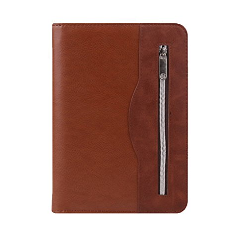 KXF A5 Zipped Executive Conference Folder PU Leather Business Presentation Folder Portfolio Travel Document Organiser Padfolio with Calculator, Pad Ring Binder, Refillable Lined Pages