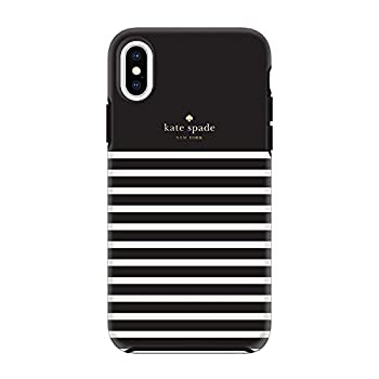 Kate Spade New York Phone Case | for Apple iPhone X and XS | Protective Phone Cases with Slim Design Drop Protection Black with Cream Stripes  Black-Stripe
