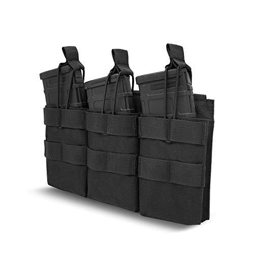 ProCase Porte Chargeur Triple Ouvert, pour Sorties d'Airsoft, Peut Contenir 3 Magazines (M4, M14, HK416, G36, AR-15, FAMAS)