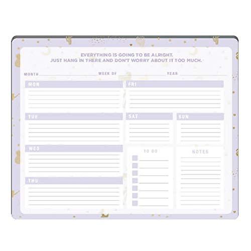 Tri-Coastal Design - Planner Settimanale con Calendario Perpetuo Settimanale da Scrivania o da Tavolo per Organizzare Impegni - Check List per Segnare le Priorità e Agenda (Gold Icons)
