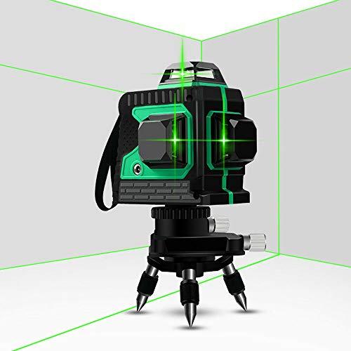 Kruislijnlaser 25 m, 360 laserniveau's zelfbalancerende 3D-12 lijnen, IP 54 zelfnivellerende verticale en horizontale lijn Groene schaal groen licht