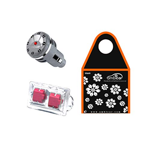 AMBICAR - Ambientador eléctrico para COCHE. Pack Insilver Nº3 (Difusor+Recambio FRUTOS ROJOS +Bolsa Ecológica) Esencia...