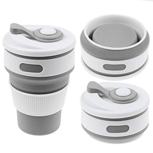 Koffie Bekers, Reizen Draagbare Inklapbare BPA-Gratis Siliconen Thee Beker voor Buiten Camping Wandelen Picknick Vouwen Kantoor Water Bekers 200-400ml Lichtgrijs