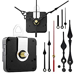 StFlyBro 2 Non Ticking Clock Movements with 4 Pack Different Size Clock Hands, DIY Repair Parts Replacement, Battery Operated