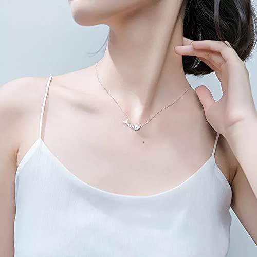 N/A Regalo Colgante de Collar de Mujer Chic Gargantilla Collares Colgantes para Mujer Colgante de Hueso de Pescado de Plata Maxi Collares Punk