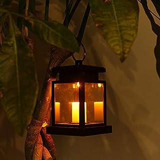 LEAGY lanterna a LED, a energia solare, a sospensione, per esterno, impermeabile, wireless, con sensore automatico, luce b...