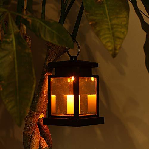 LEAGY lanterna a LED, a energia solare, a sospensione, per esterno, impermeabile, wireless, con sensore automatico, luce bianca calda, illuminazione notturna di sicurezza con effetto candela